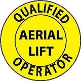 NMC HH84 2'' x 2'' PS Vinyl Hard Hat Emblem w/Legend: ''Qualified Aerial Lift Operator'', 12 Packs of 25 pcs