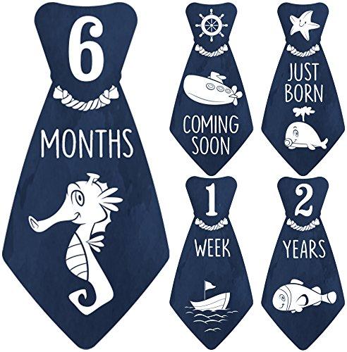 """Original StickNsnap (TM) 18 Baby Monthly Necktie Onesie Stickers - """"Under The Blue Sea"""" (TM). Marine, Nautical theme, Milestones for 12 Months +6 bonus - Best Baby Shower Gift!"""