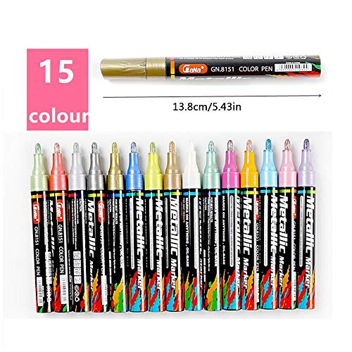 Volwco Acrylic Paint Marker Pen - 3.0mm 15 Colour Paint Maker Set, Paint Deco Marker Pens For Rock Painting, Stone, Ceramic, Glass, Wood, Metal, Birthday Gifts, Personalised Gifts, DIY Crafts And More