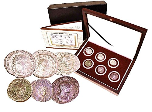 it-260-gallic-empire-260-274-ce-rome-breaks-apart-a-collection-of-6-silver-coins-with-beautiful-wood