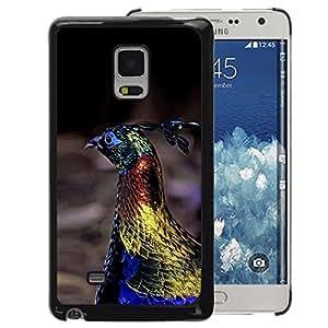A-type Arte & diseño plástico duro Fundas Cover Cubre Hard Case Cover para Samsung Galaxy Mega 5.8 (Peacock Bird Vibrant Blue Spring Gold)