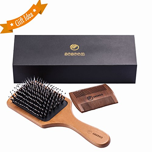 Hair Brush-Sosoon Boar Bristle Hairbrush for Long,Thick,Curly,Wavy,Dry&Damaged Hair-Reducing Hair Breakage and Frizzy,No More Tangle-Beardcomb Included (Curly Hair No Frizz)