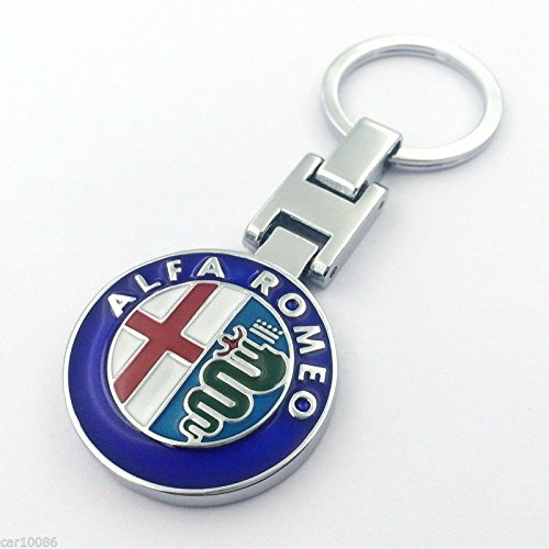 CHAMPLED ALFA ROMEO Rhinestones Emblem Keychain Keyring Round Logo Double Symbol Sign Badge Personalized Custom Logotipo Quality Metal Alloy Nice Gift for Man Woman