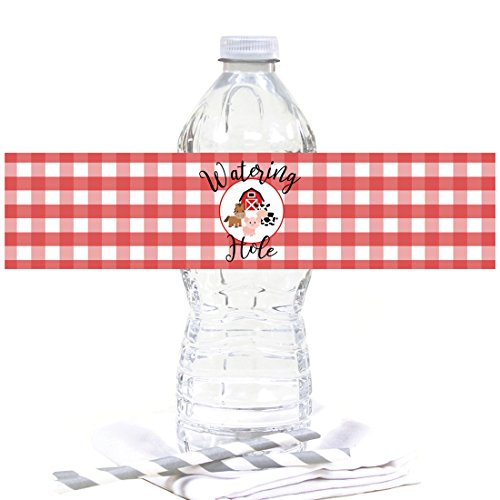 Andaz Press Red Farmhouse Barnyard Birthday Party Collection, Water Bottle Labels, 20-Pack