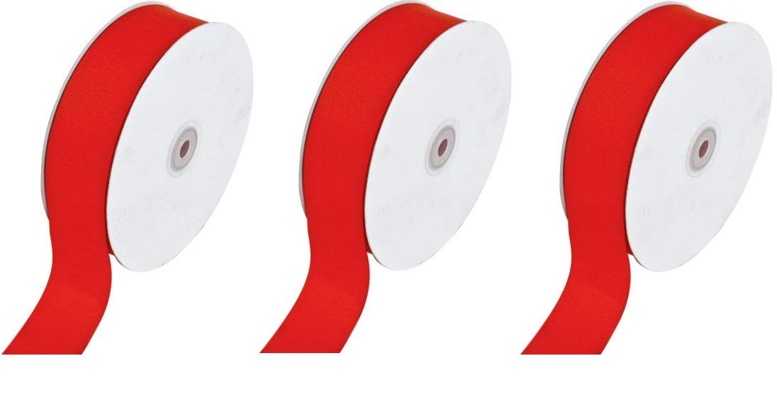 Creative Ideas Solid Grosgrain Ribbon, 1-1/2-Inch by 50-Yard, Red (Thrее Рack)
