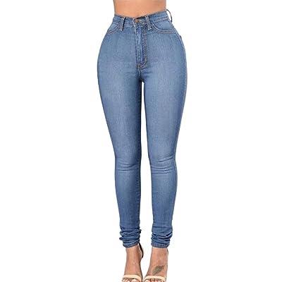 ADELINA Pantalones De Mezclilla De Las Mujeres Cintura Pantalones Ropa Alta Delgados Estiramiento del Lápiz con Bolsillos Pantalones De Mezclilla Informal: Ropa y accesorios