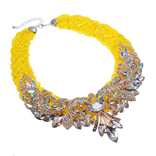 XBY-US Fashion Multicolor Statement Bib Chain Necklace,Handmade Braid Crystal Necklace Flower-Shaped Choker Collar for Women Costume Jewelry (Color 7)
