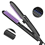 Spray Hair Straightener Brush, Ionic Steam Ceramic Hair Straightening Brush PTC Faster Heating Anion Care Anti-Scald Static Straight Comb Ion for Silky Frizz-free Hairs