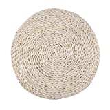 MagiDeal Handcrafted Straw Round Seat Pouf Tatami Cushion Meditation Yoga Mat Zafu Cushion with Silk Wadding Packed Diameter 45CM