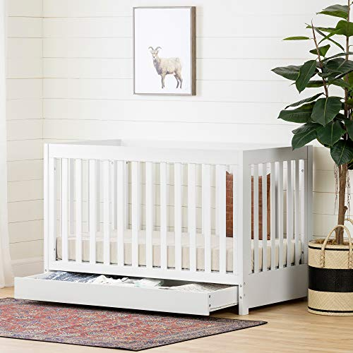 (South Shore 12309 Yodi Crib with Drawer-White)