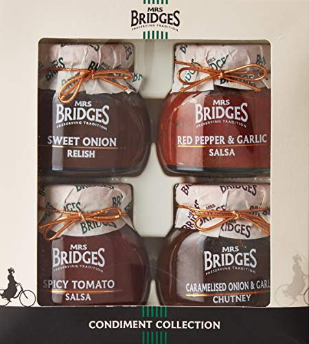 Mrs Bridges Condiment Collection, 3.5 Ounce (Sweet Onion Relish, Red Pepper & Garlic Salsa, Spicy Tomato Salsa, and Caramelized Onion & Garlic Chutney)