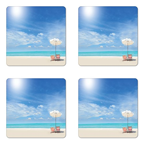 Themed Beach Photo Coaster - Lunarable Hawaiian Coaster Set of Four, Secluded Tropical Island Beach with Chairs and Umbrella Ocean Sand Seascape Photo, Square Hardboard Gloss Coasters for Drinks, Blue Beige