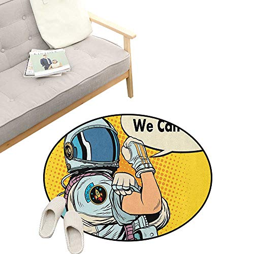 Astronaut Custom Round Carpet ,Astronaut Version of We Can Do It Feminism Science Space Corps Comic Character, The Custom Round Non-Slip Doormat 23