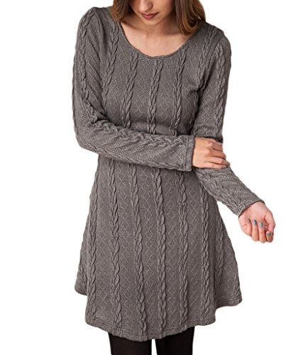 Mansy Womens Knitted Crewneck Sweater Dress Gray X-Large