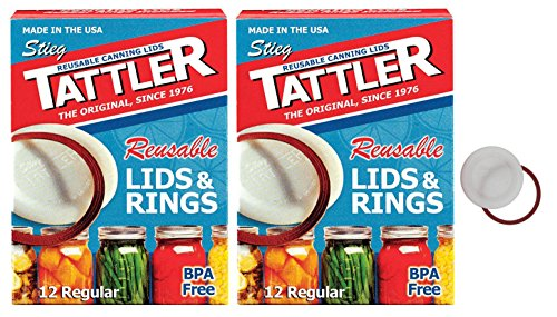 Tattler Reusable Regular Size Canning Lids 12 count - 2 Pack (Total 24 Lids)