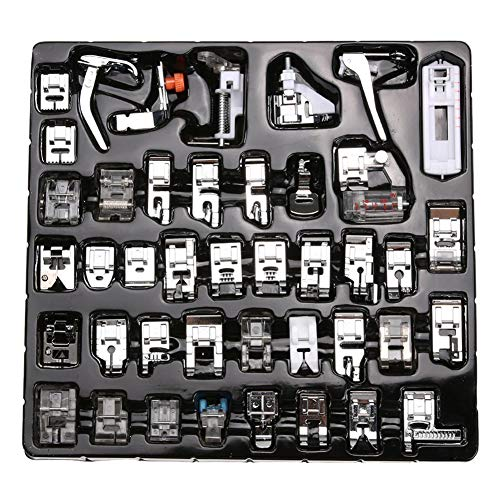 (Petift 42 Pcs Domestic Sewing Machine Presser Feet Set,Professional Sewing Foot Accessories Tools for Brother,BabyLock,Singer,Elna,Toyota,New Home,Janome, Kenmore and White Low Shank Sewing Machine)