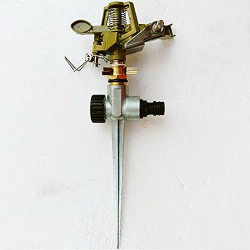 LVOERTUIG Metal Spike Hose Water Impulse Sprinkler Sprayer for Lawn Garden Yard Golf Grass, Professional Sprinkler with Spike Base with Stability Arms(Silver Golden)