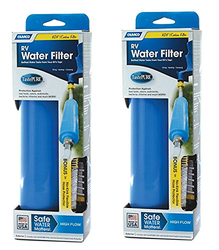 Camco 40043 TastePURE Water Filter with Flexible Hose Protector CXBuuR, 2 Pack by Unknown