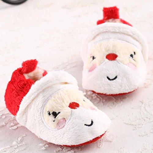 Hunpta Babyschuhe Mädchen Jungen Lauflernschuhe Kleinkind Kind neugeborenes Baby Santa Claus Soft alleinige Weihnachten Prewalker Schuhe (12)