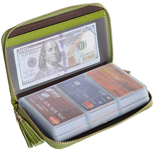 Easyoulife Credit Card Holder Wallet Womens Zipper Leather Case Purse RFID Blocking (Green)