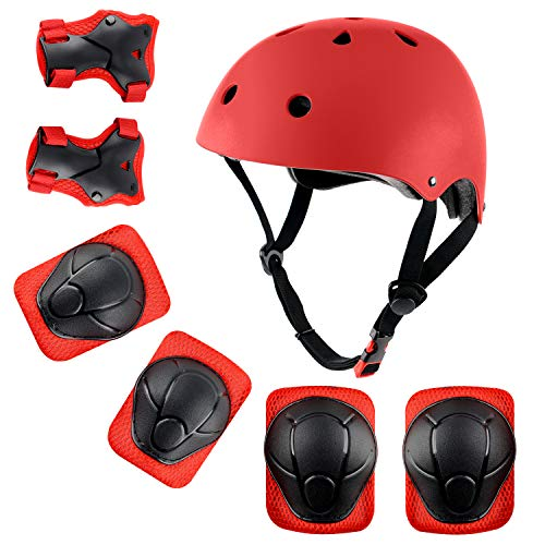 Anharluka Child Multi-Sport Helmet with Knee Pads Elbow Wrist Protection Set for Skateboard Cycling Skate Scooter Red