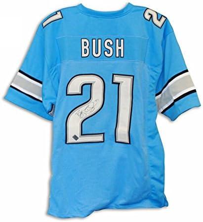 Reggie Bush Detroit Lions Autographed Blue Jersey - 100% Authentic ...