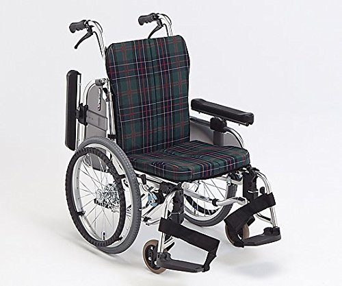 松永製作所8-2739-03超低床コンパクト車椅子(自走式/アルミ製/緑チェック) B07BD2NMBV