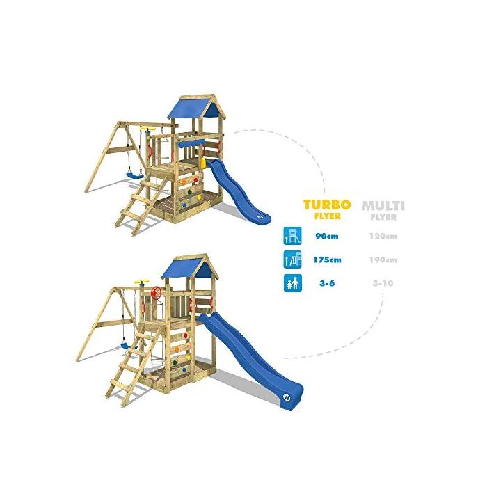 51jYZOWoVkL WICKEY Torre de escalade con columpio y tobogán - Calidad y seguridad aprobada - Varias opciones de montaje Madera maciza impregnada a presión - Poste 9x4,5cm - Poste de columpio 9x9cm - Cajón de arena integrado Instrucciones de montaje detalladas - Muro para trepar - Todos los tornillos necesarios - Toldo