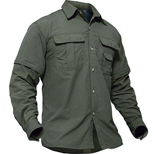 TACVASEN アウトドア メンズ シャツ 長袖 ミリタリー タクティカル BDU tシャツ 登山 速乾 取り外し可能 半袖