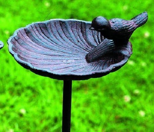 Bebedero para pájaros/Jardín Varilla, Pájaro en Caracola, hierro fundido, marrón, variante B: Amazon.es: Productos para mascotas