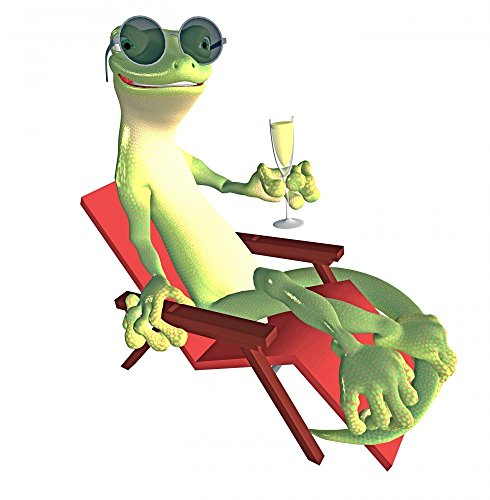 Wallmonkeys Bask in the Gecko Peel and Stick Wall Decals WM72953 (36 in H x 35 in W)