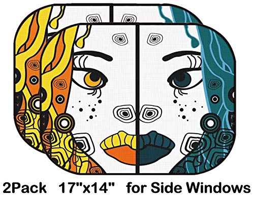 Liili Car Sun Shade for Side Rear Window Blocks UV Ray Sunlight Heat - Protect Baby and Pet - 2 Pack Set of Two Vector Halloween Woman Cartoon Portraits Party Background for Text IMAG]()
