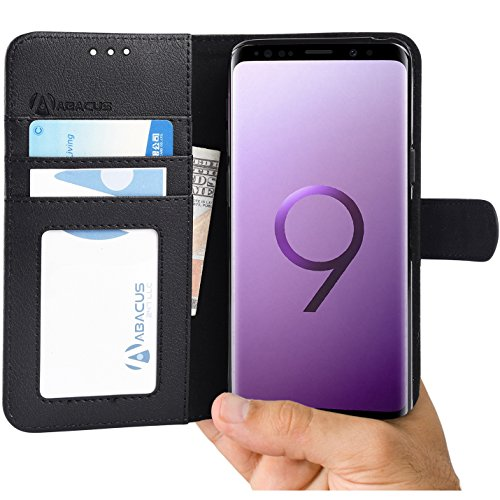 Abacus24-7 Samsung Galaxy S9 Case Wallet with Flip Cover and Folding Stand Black