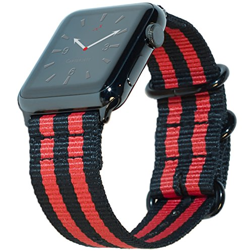CARTERJETT Apple Watch Band 42mm Nylon NATO iWatch Band- Red and Black Woven Stripe Strap with Space Black Steel Adapters & Buckle for 42 mm Apple Watch Series 2, 1 Sport Nike+ Edition & New Series 3