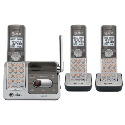 AT&T CL82301 DECT 6.0 Cordless Phone, Silver/Grey, 3 Handsets