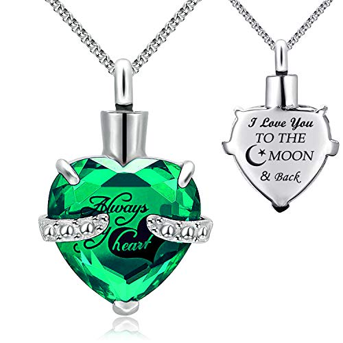 YOUFENG Urn Necklaces for Ashes Always in My Heart Heart Cremation Jewelry Memorial Pendant Birthstone Necklace (May URN)