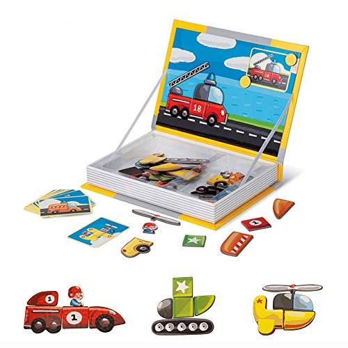 Yugee Magnetic Puzzle Book Themed Jigsaw Educational Creative Toy for Kids Toddlers Boys and Girls of Ages 3+ Vehicle Transport (50 PCS+18 Cards)
