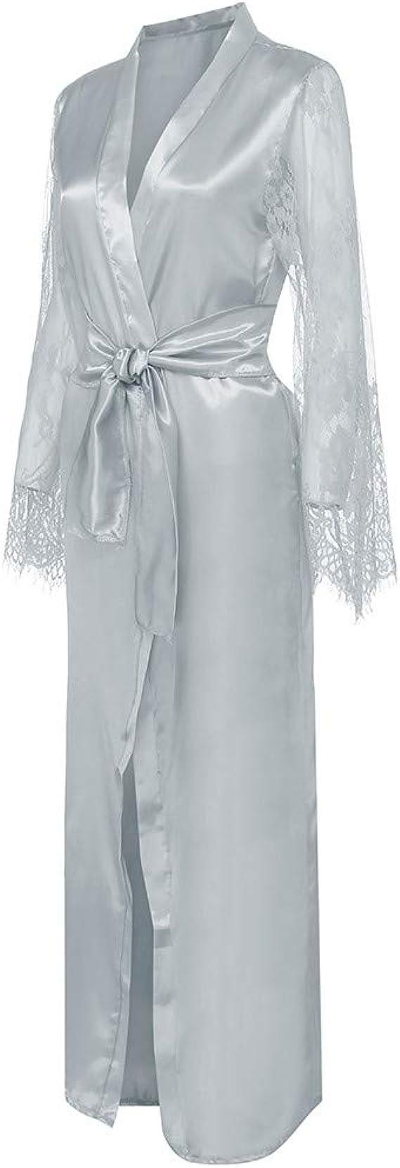 JUTOO Satén satén Encaje Pijamas túnica Ropa Interior Batas: Amazon.es: Ropa y accesorios