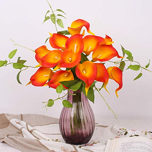 YUYAO Calla Lily Artificial Flowers Bridal Wedding Bouquets Latex Real Touch Lillies Flower Arrangements for Home Party(Sunset, 1)