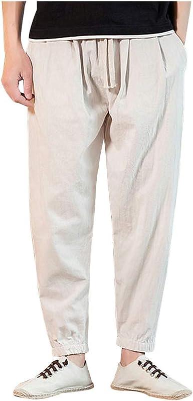 MXJEEIO💖Hombre Pantalones de Harén Cintura Elástica Cómodo ...