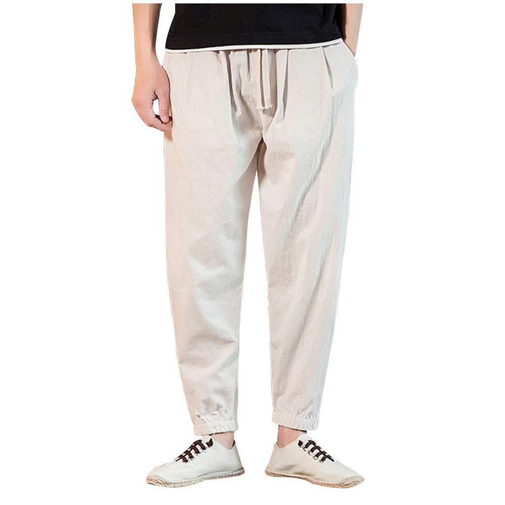 Mens Pant, Men's Casual Slim Fit Sports Loose Harem Pants Ankle-Length Linen Trousers Baggy Pants White by Zainafacai_shorts