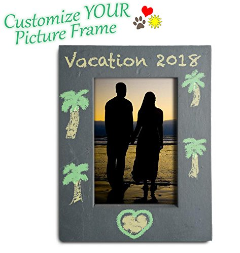 FRESHeTECH Slate Picture Frame Chalkboard - Great for Photo Notes with Chalk 8 1/4 x 6 1/4 Decorate and Design with June and - Chalk Frame