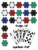 Poker Edible Cake Topper Royal Flush Cake Topper Casino Chips, Blue, 1/4 sheet size