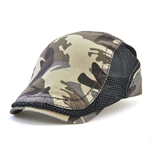 - GADIEMENSS Mesh Flat Cap Bill Fashion Cap Camouflage Beret Coffee Hats for Men Ivy Mesh Cap Woman Cap Camouflage Sport Cap Mesh Summer Breathable Gray