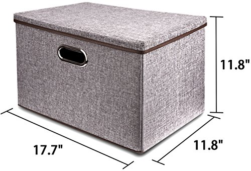 Large Linen Fabric Foldable Storage Container [2-Pack] with Removable Lid and Handles,Storage bin box cubes Organizer - Gray For Home, Office, Nursery, Closet, Bedroom, Living Room by Baseshop (Image #6)