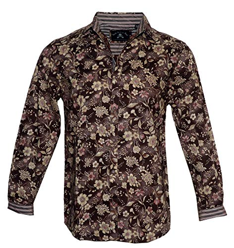 Men's Long Sleeve Floral Button Down Shirt in Brown 'Sweet Home' 437 ()