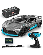 MIEBELY Bugatti Remote Control Car – 1/12 Scale RC Car for Children and Adults – Realistic Bugatti Divo Car with Lights – Detachable Steering Ring for Left and Right-Handed – Max Speed 12km/h Toy Car