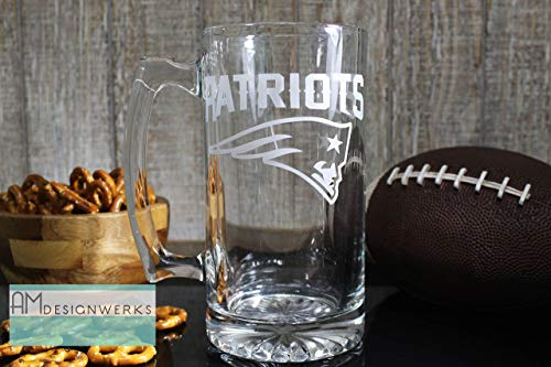 New England Patriots Jumbo 28.5oz Hand Etched Glass Beer Mug by AM Designwerks