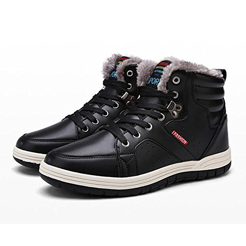 Warm US Outdoor Lining 5 plus Men's 7 13 Leather Worker Plush Cotton Black Winter Boots size Sneaker Boots Shoes Lining Walking hibote Ankle Winter Casual Shoes Shoes xwBpq0w