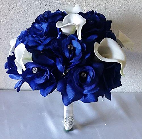 Lily Rhinestone (Royal Blue Rhinestone Rose Real Touch Calla Lily Bridal Bouquet &)